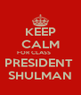 KEEP CALM FOR CLASS        PRESIDENT  SHULMAN - Personalised Poster A4 size