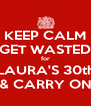KEEP CALM GET WASTED for LAURA'S 30th & CARRY ON - Personalised Poster A4 size