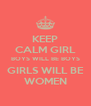 KEEP CALM GIRL BOYS WILL BE BOYS GIRLS WILL BE WOMEN - Personalised Poster A4 size