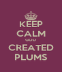 KEEP CALM GOD CREATED PLUMS - Personalised Poster A4 size