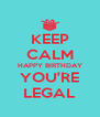 KEEP CALM HAPPY BIRTHDAY YOU'RE LEGAL - Personalised Poster A4 size