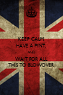 KEEP CALM, HAVE A PINT, AND WAIT FOR ALL THIS TO BLOWOVER - Personalised Poster A4 size
