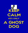 KEEP CALM HE'S ONLY A GHOST DOG - Personalised Poster A4 size