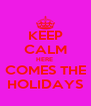 KEEP CALM HERE  COMES THE HOLIDAYS - Personalised Poster A4 size