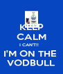 KEEP CALM I CAN'T!!    I'M ON THE  VODBULL - Personalised Poster A4 size