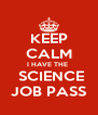 KEEP CALM I HAVE THE   SCIENCE JOB PASS - Personalised Poster A4 size
