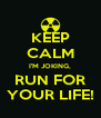 KEEP CALM I'M JOKING, RUN FOR YOUR LIFE! - Personalised Poster A4 size
