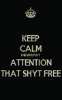 KEEP CALM I NEVER PAY ATTENTION THAT SHYT FREE - Personalised Poster A4 size