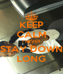 KEEP CALM I NEVER STAY DOWN LONG - Personalised Poster A4 size