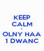 KEEP CALM I OLNY HAA 1 DWANC - Personalised Poster A4 size