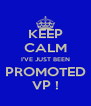 KEEP CALM I'VE JUST BEEN PROMOTED VP ! - Personalised Poster A4 size