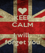 KEEP CALM  I will  forget you - Personalised Poster A4 size