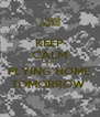 KEEP CALM IM  FLYING HOME TOMORROW  - Personalised Poster A4 size