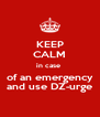 KEEP CALM in case  of an emergency and use DZ-urge - Personalised Poster A4 size