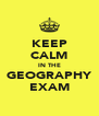 KEEP CALM IN THE GEOGRAPHY EXAM - Personalised Poster A4 size