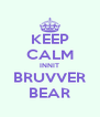KEEP CALM INNIT BRUVVER BEAR - Personalised Poster A4 size