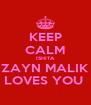 KEEP CALM ISHITA ZAYN MALIK LOVES YOU  - Personalised Poster A4 size