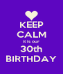 KEEP CALM it is our 30th BIRTHDAY - Personalised Poster A4 size