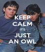 KEEP CALM IT'S JUST AN OWL - Personalised Poster A4 size