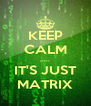 KEEP CALM ..... IT'S JUST MATRIX - Personalised Poster A4 size