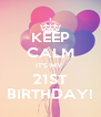 KEEP CALM IT'S MY  21ST BIRTHDAY! - Personalised Poster A4 size