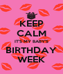 KEEP CALM IT'S MY BABY'S BIRTHDAY WEEK - Personalised Poster A4 size