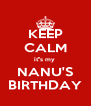 KEEP CALM it''s my  NANU'S BIRTHDAY - Personalised Poster A4 size