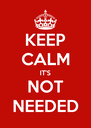KEEP CALM IT'S NOT NEEDED - Personalised Poster A4 size