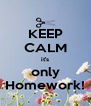 KEEP CALM it's only Homework! - Personalised Poster A4 size