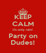 KEEP CALM it's only rain! Party on Dudes! - Personalised Poster A4 size