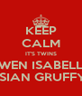 KEEP CALM IT'S TWINS GWEN ISABELLA & OSIAN GRUFFYDD - Personalised Poster A4 size
