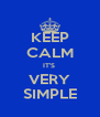 KEEP CALM IT'S  VERY SIMPLE - Personalised Poster A4 size