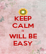 KEEP CALM it WILL BE EASY - Personalised Poster A4 size