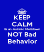 KEEP CALM Its an Autistic Meltdown NOT Bad  Behavior - Personalised Poster A4 size