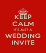 KEEP CALM IT'S JUST A WEDDING INVITE - Personalised Poster A4 size