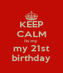 KEEP CALM its my  my 21st birthday - Personalised Poster A4 size