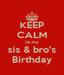 KEEP CALM its my sis & bro's Birthday - Personalised Poster A4 size