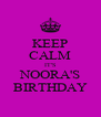 KEEP CALM IT'S NOORA'S BIRTHDAY - Personalised Poster A4 size