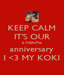 KEEP CALM IT'S OUR 3 MONTH anniversary I <3 MY KOKI - Personalised Poster A4 size
