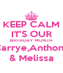 KEEP CALM IT'S OUR BIRTHDAY MONTH Carrye,Anthony & Melissa - Personalised Poster A4 size
