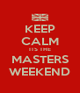 KEEP CALM ITS THE MASTERS WEEKEND - Personalised Poster A4 size