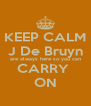 KEEP CALM J De Bruyn are always here so you can CARRY  ON - Personalised Poster A4 size