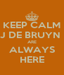 KEEP CALM J DE BRUYN  ARE ALWAYS HERE - Personalised Poster A4 size