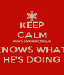 KEEP CALM KIMI RAIKKONEN KNOWS WHAT  HE'S DOING - Personalised Poster A4 size