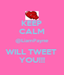 KEEP CALM @LiamPayne WILL TWEET  YOU!!! - Personalised Poster A4 size