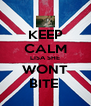 KEEP CALM LISA SHE WONT BITE  - Personalised Poster A4 size