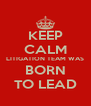 KEEP CALM LITIGATION TEAM WAS BORN TO LEAD - Personalised Poster A4 size