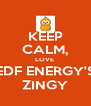 KEEP CALM, LOVE  EDF ENERGY'S ZINGY - Personalised Poster A4 size
