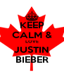 KEEP CALM & LOVE JUSTIN BIEBER - Personalised Poster A4 size