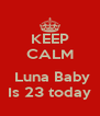 KEEP CALM   Luna Baby Is 23 today - Personalised Poster A4 size
